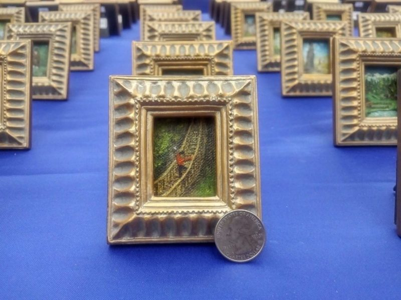 The opening of the exhibit for the Largest Miniature Art Collection at Central Library in August 2017.