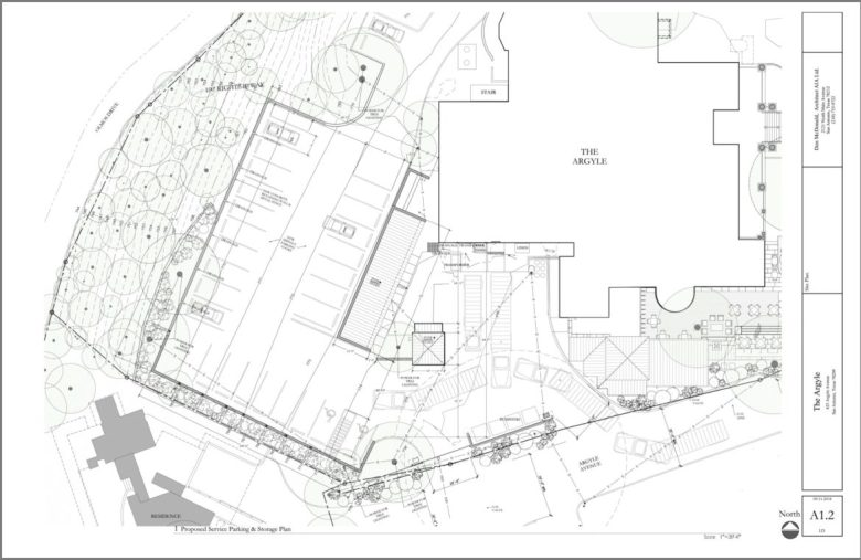 A site plan shows the proximity of the proposed parking lot and the nearby residence.