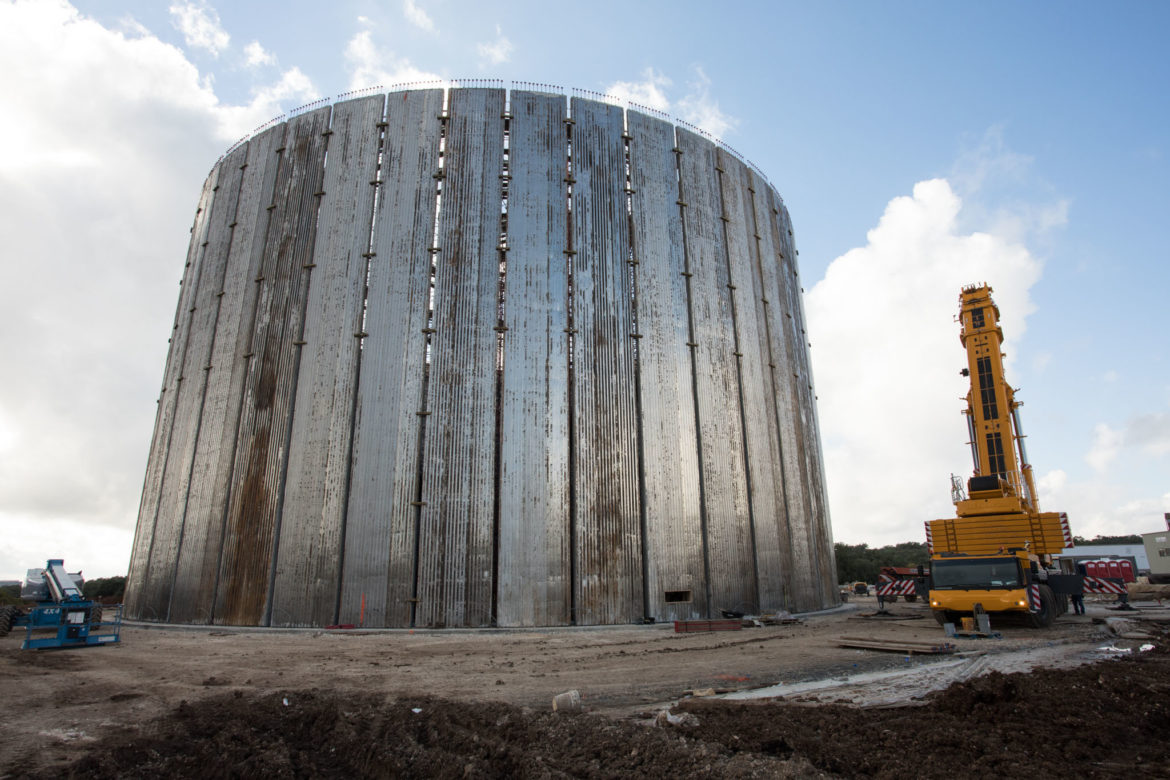 A ten-million gallon water storage tank, part of the San Antonio Water System's Agua Vista site, will be the end point of the Vista Ridge pipeline.