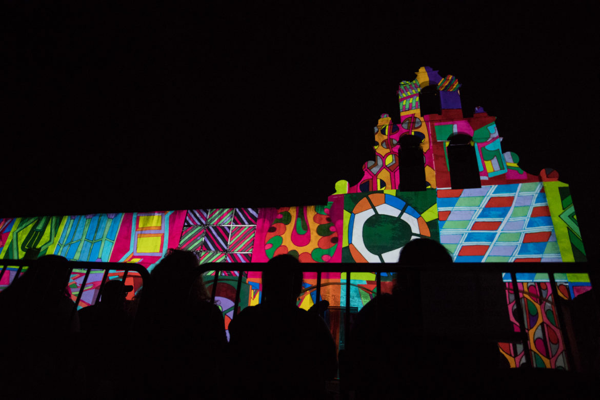 Restored by Light, with art created by Louis Vega Treviño, is projected on to Mission San Juan.