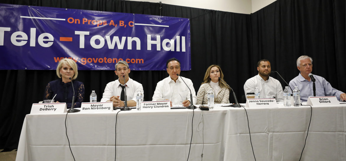 (From left) Trish DeBerry, President and CEO of the DeBerry Group; Mayor Ron Nirenberg; Henry Cisneros, former HUD Secretary and San Antonio Mayor; Jenna Saucedo-Herrera, San Antonio Economic Development Foundation (SAEDF) president and CEO; Brian Dillard, former Dignowity Hill Neighborhood Association president; and Gordon Hartman, philanthropist and founder of Morgan's Wonderland, participate in the Go Vote No tele-town hall held Wednesday Oct. 17, 2018 at the Tripoint YMCA.