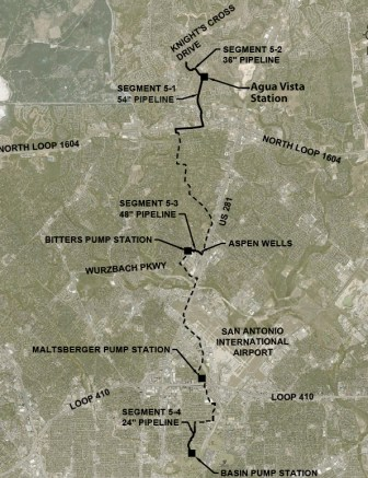 A map of the 15-mile Central Water Integration Pipeline, which will help connect Vista Ridge to the larger SAWS' system.