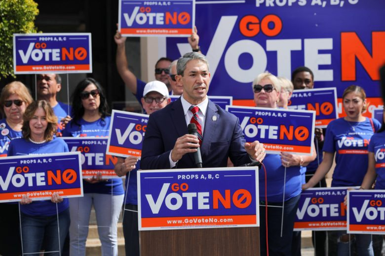 Mayor Ron Nirenberg and supporters of the Go Vote No campaign call citizens to vote down the proposed charter amendments during the November elections.