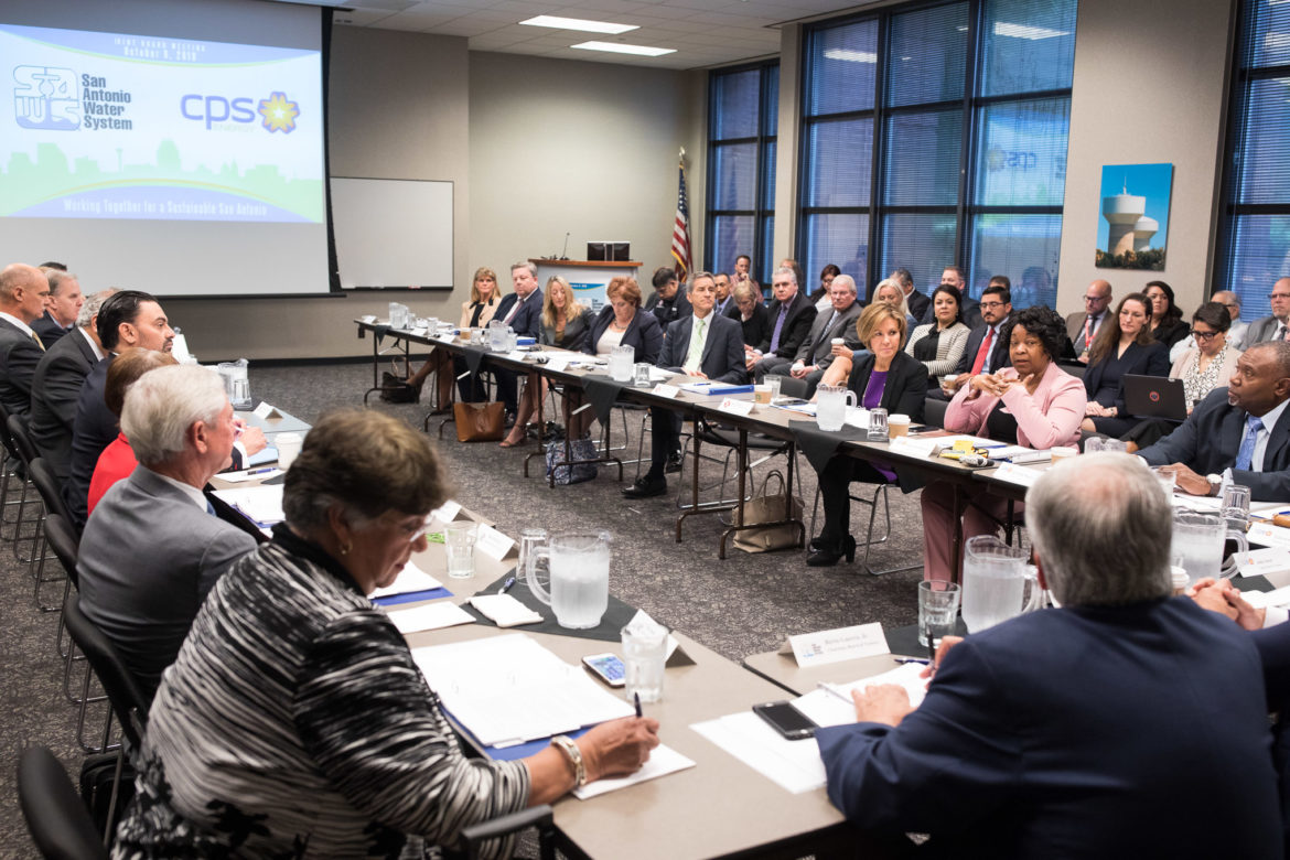 SAWS and CPS Energy board members discuss joint efforts in a collaborative meeting between the two city owned utilities.