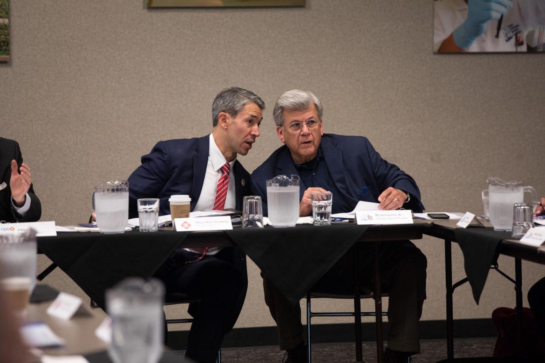 San Antonio Mayor Ron Nirenberg (left) and SAWS Board Chair Heriberto (Berto) Guerra (right)