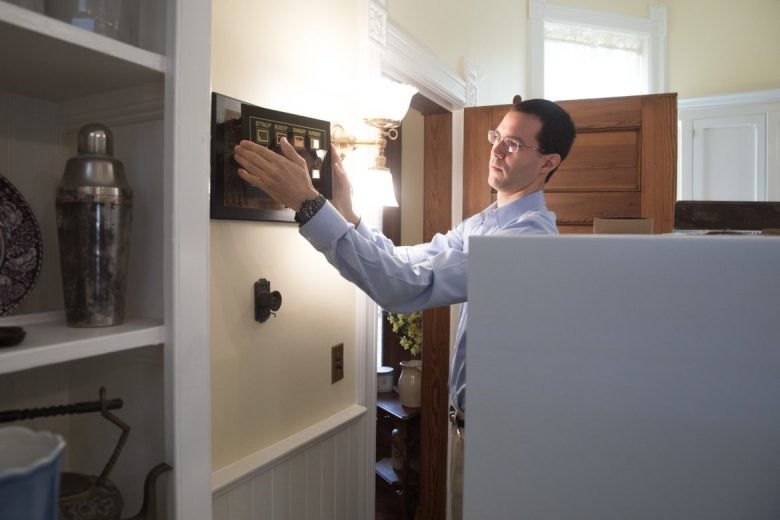 A panel with bells to call different is seen in the kitchen at the Maverick Carter House