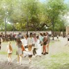This rendering shows Alamo Plaza without any vehicle traffic.