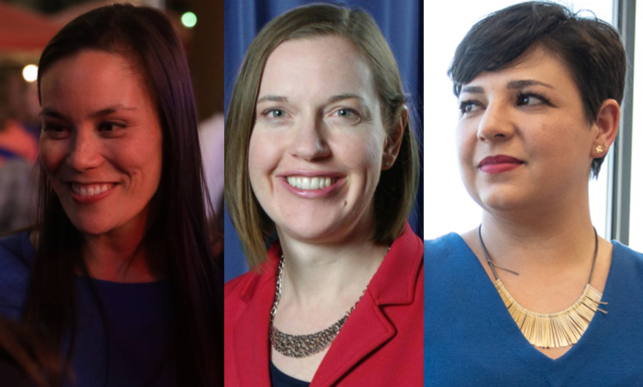 (From left) Gina Ortiz Jones, Claire Barnett, and Celina Montoya are all first-time political candidates.