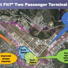 One of three options that the Airport Advisory Committee is exploring would add a 63-gate terminal south of the main airstrip.