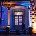 The historic homes in Hemisfair are lit up for Luminaria.