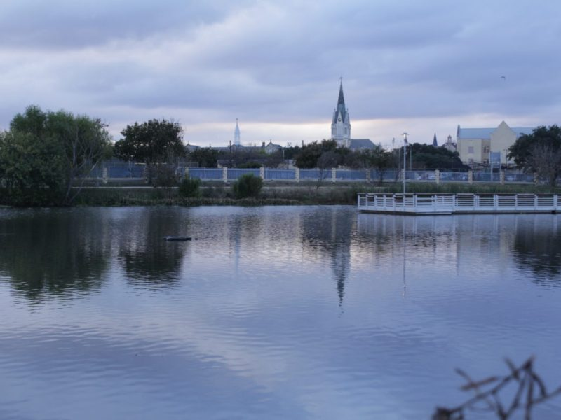Our Lady of the Lake University lies on one side of Elmendorf Lake Park on the West Side.
