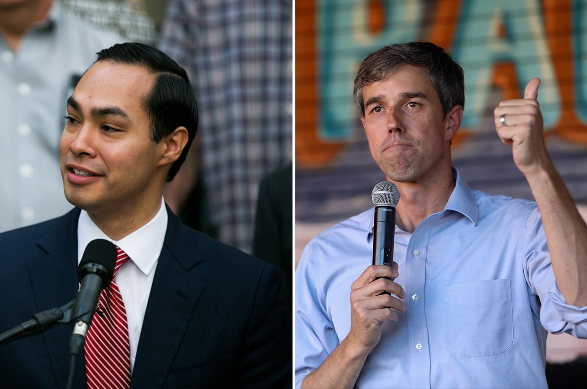 Former Housing and Urban Development Secretary Julian Castro (left) and former Congressman Beto O'Rourke (D-TX) have both been seen as possible front runner to declare candidacy for President in 2020.