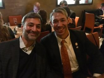 (From left) Mike Sawaya, President of New Orleans Convention Center, and Mayor Ron Nirenberg.