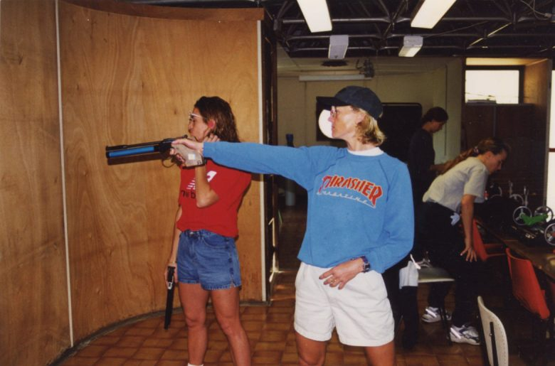 Sharon Sander practices her target shooting at the France Olympic Training Center.