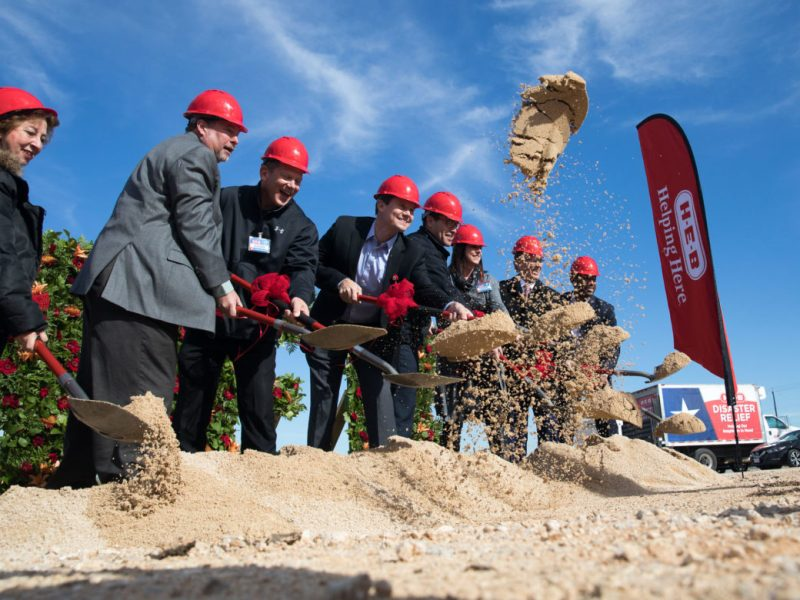 H-E-B and elected officials break ground on the San Antonio Super Regional Grocery Warehouse in the far Eastside.