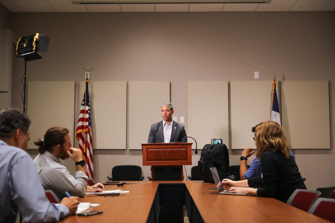 Mayor Ron Nirenberg hosts a press conference in the aftermath of two of the three proposed charter amendments passing on election night.
