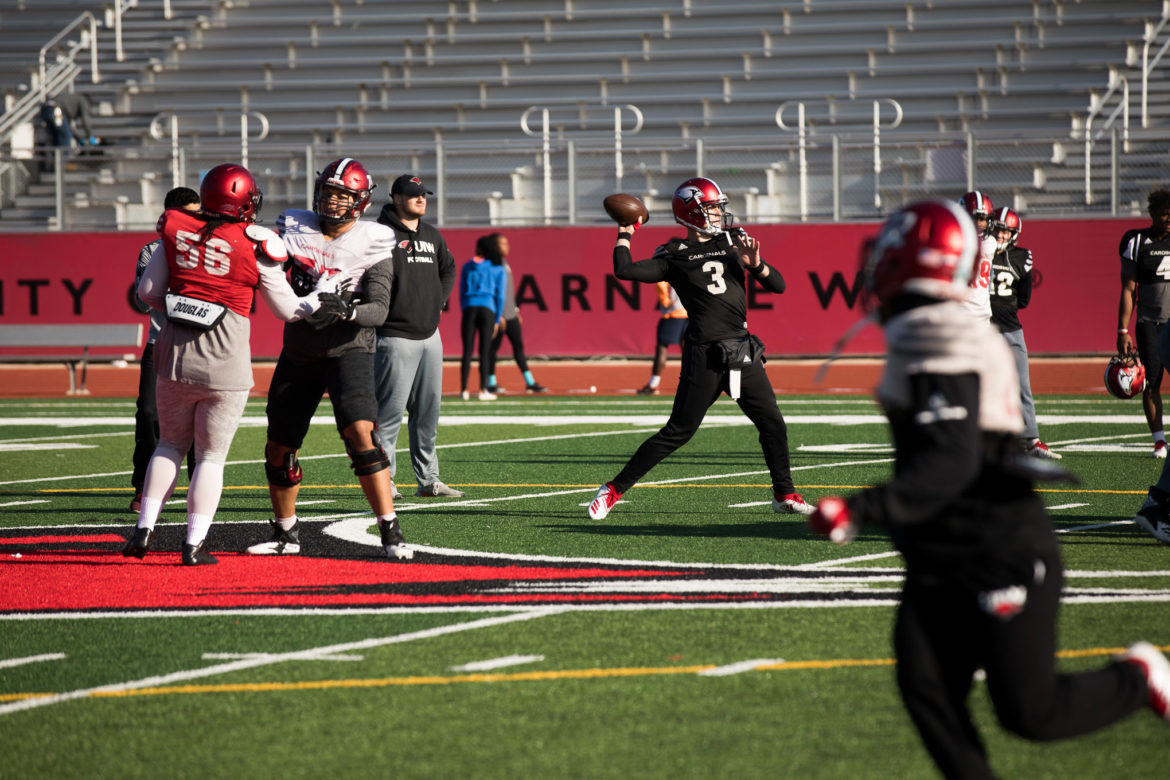 UIW quarterback Sean Brophy works with the offense during practice ahead of the game against Montana State.