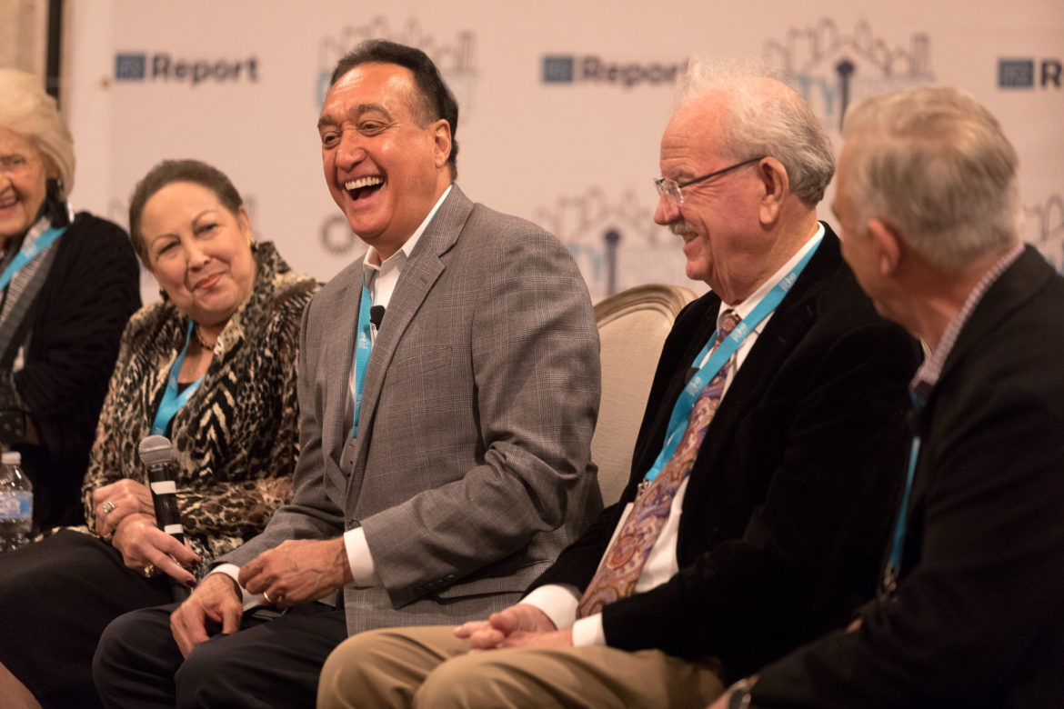 Henry Cisneros laughs with fellow panelists during the San Antonio Icons and Turning Points in Contemporary City History.