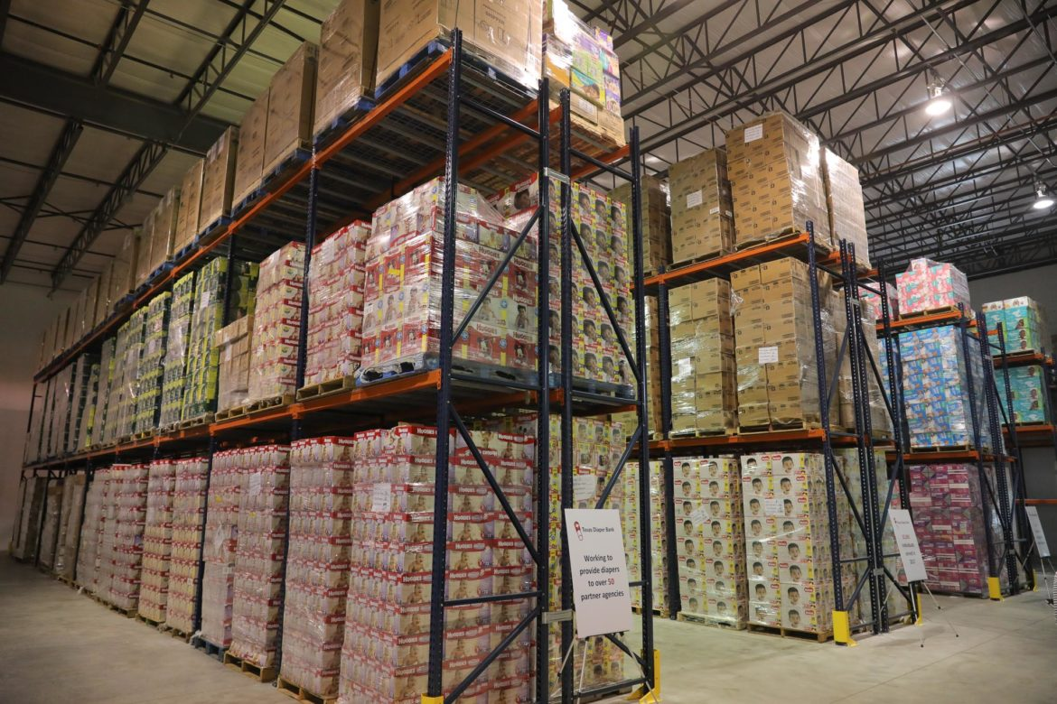 Thousands of boxes of diapers for all ages are stacked in the newly expanded Texas Diaper Bank warehouse.