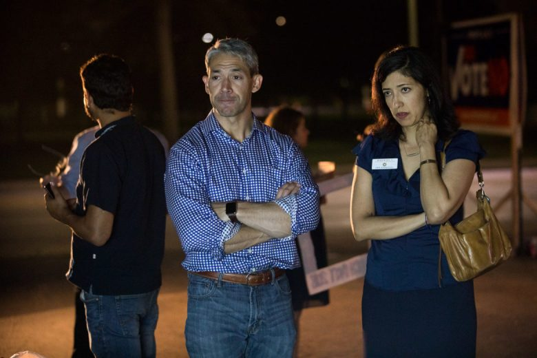 Mayor Ron Nirenberg and Councilwoman Ana Sandoval (D7) watch as results in approval of proposition C continue to rise.