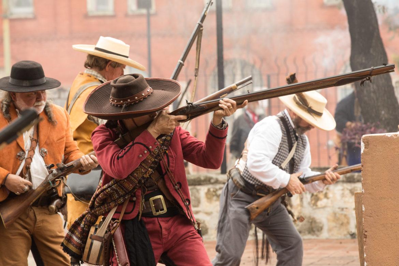 The San Antonio Living History Association re-enacts the Battle of Bejar at La Villita in 2018.