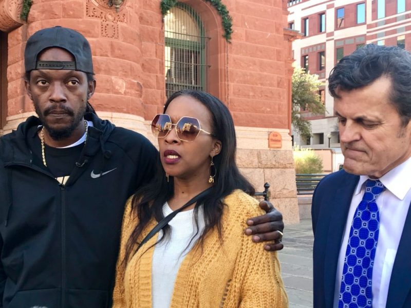 (left) Reginold Stephens and Michelle Dotson speak about their mother's death at a press conference, with support from their lawyer, Leslie Sachanowicz.