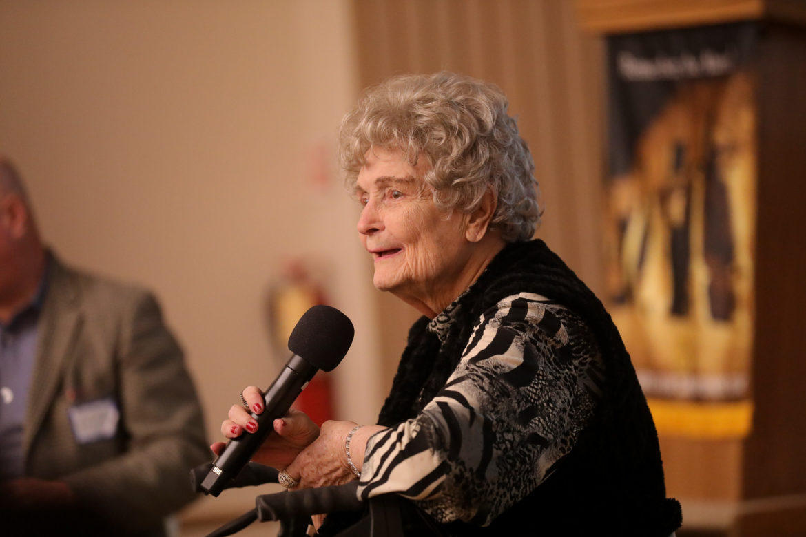 Former Mayor of San Antonio Lila Cockrell addresses the audience during a luncheon hosted by the Rotary Club of San Antonio.