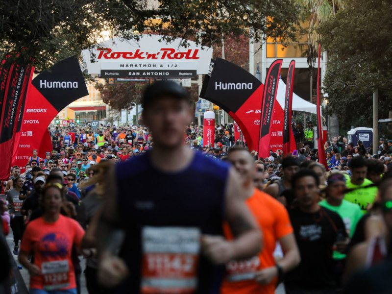 Thousands of runners take to downtown streets during the 2018 Rock 'n' Roll marathon.