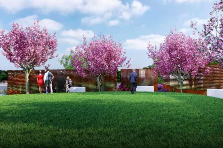 A rendering showing the Memorial Garden at the Texas Organ Sharing Alliance.