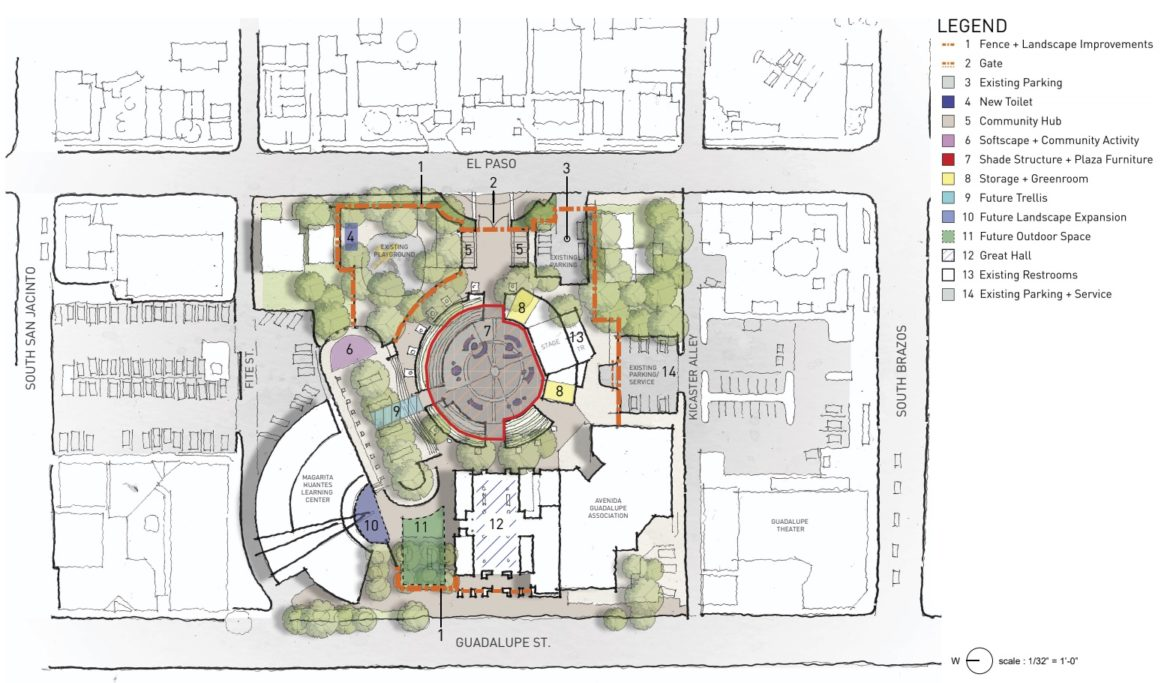 The first of two concept plans for Plaza Guadalupe.