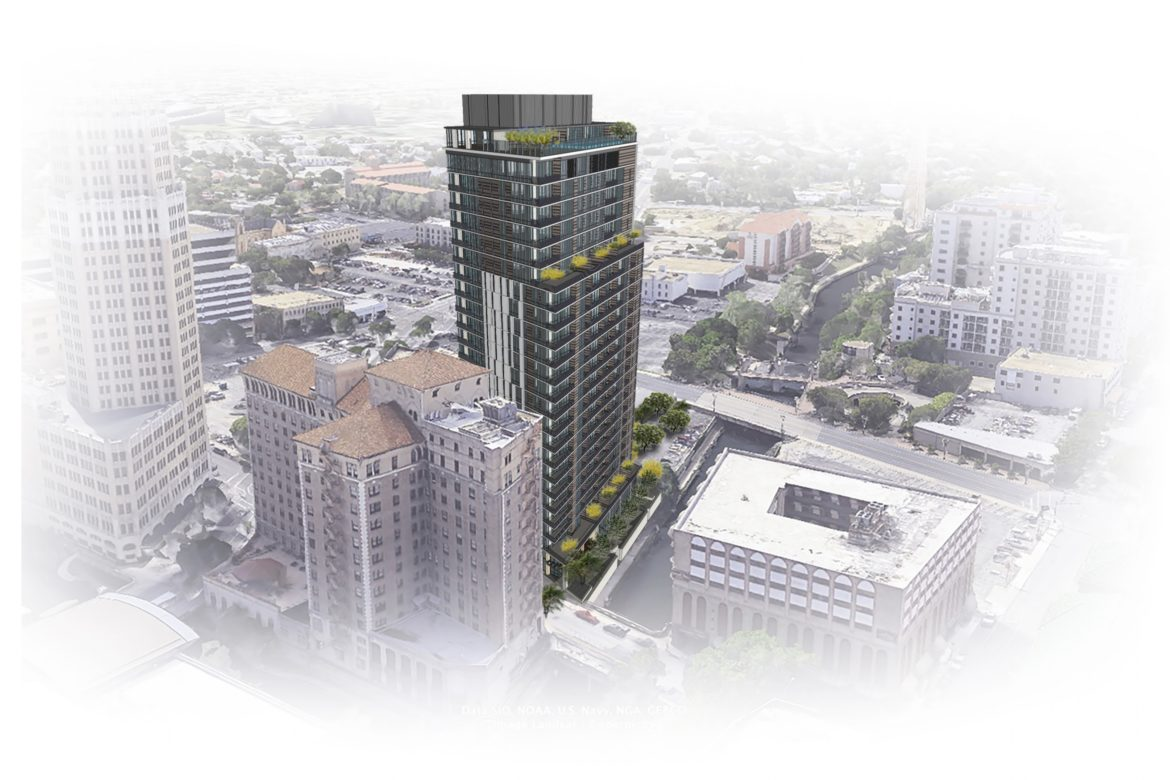 A rendering looking northwest of the Villita Tower, located at 126 Villita St.