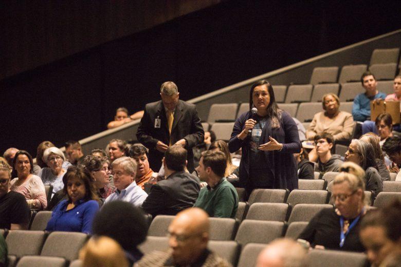 Parent and teacher Priscilla Garcia addresses the panel.