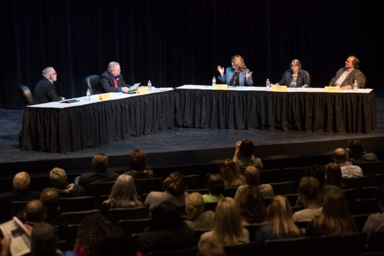 (From left) Robert Rivard, Rod Ellis, Mary Beth Fisk, Laura Aten, and David Colbath participate in a conversation on arming school staff.