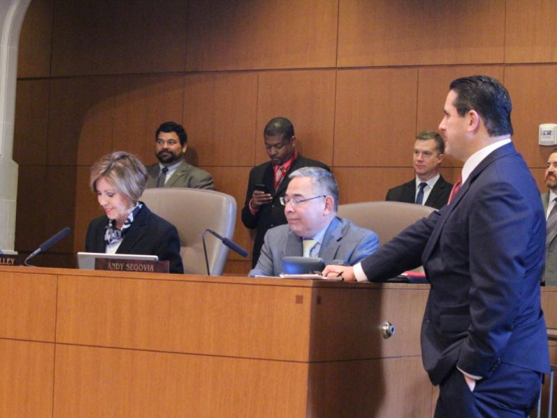 From left, City Manger Sheryl Sculley, City Attorney Andy Segovia, and Deputy City Manager Erik Walsh.