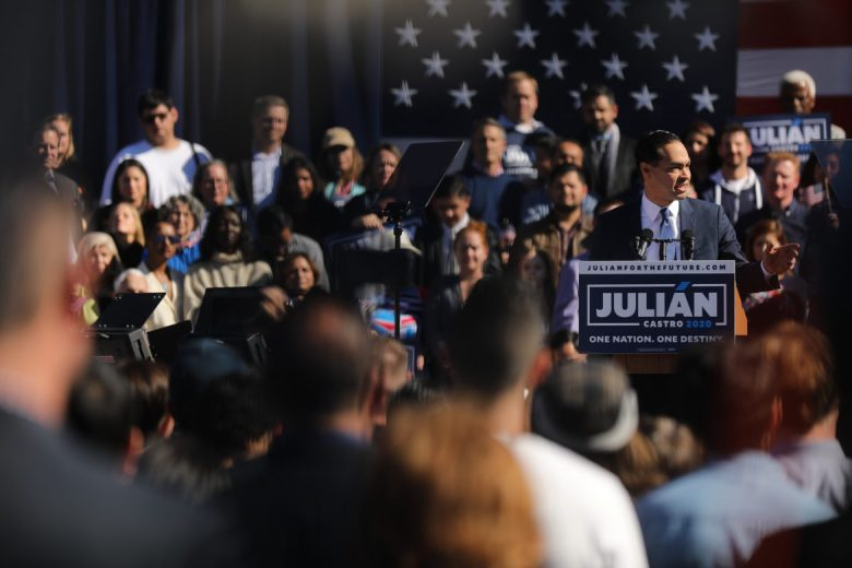 Presidential candidate Julián Castro speaks during his announcement event at Plaza Guadalupe in San Antonio's Westside.