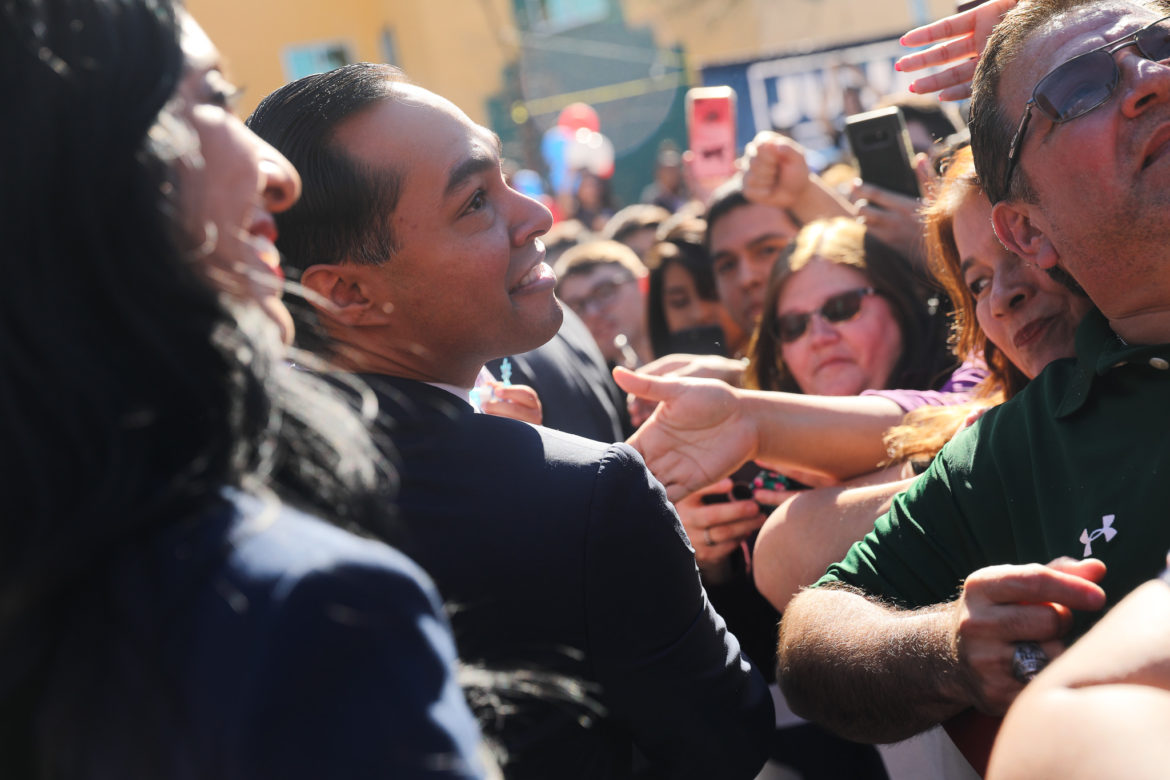 Presidential candidate Julián Castro greets supporters during his announcement event at Plaza Guadalupe in San Antonio's Westside.