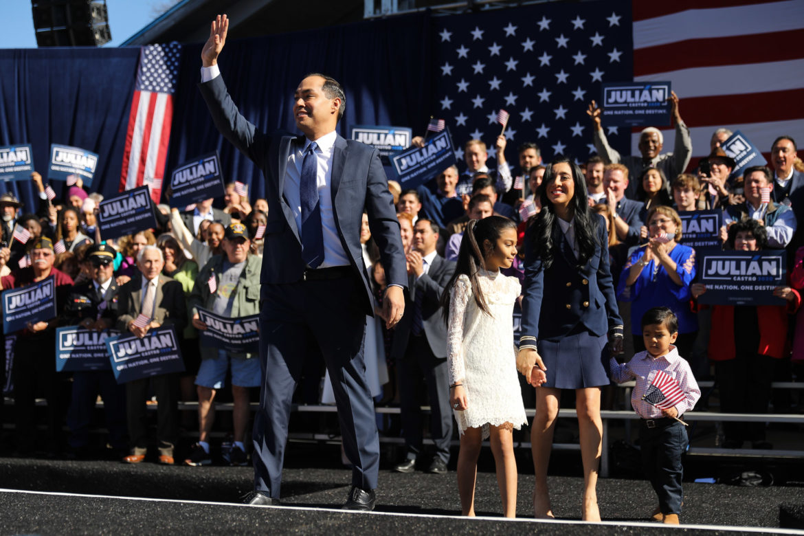 Former San Antonio Mayor Julián Castro and his family greet the crowd assembled for his presidential campaign announcement.