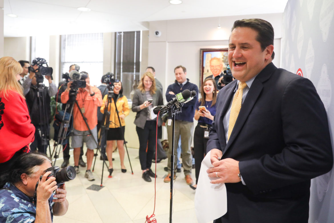 City Manager finalist Erik Walsh responds to questions during a news conference outlining his role if he is confirmed with a super majority (8 of 10 votes) by City Council.