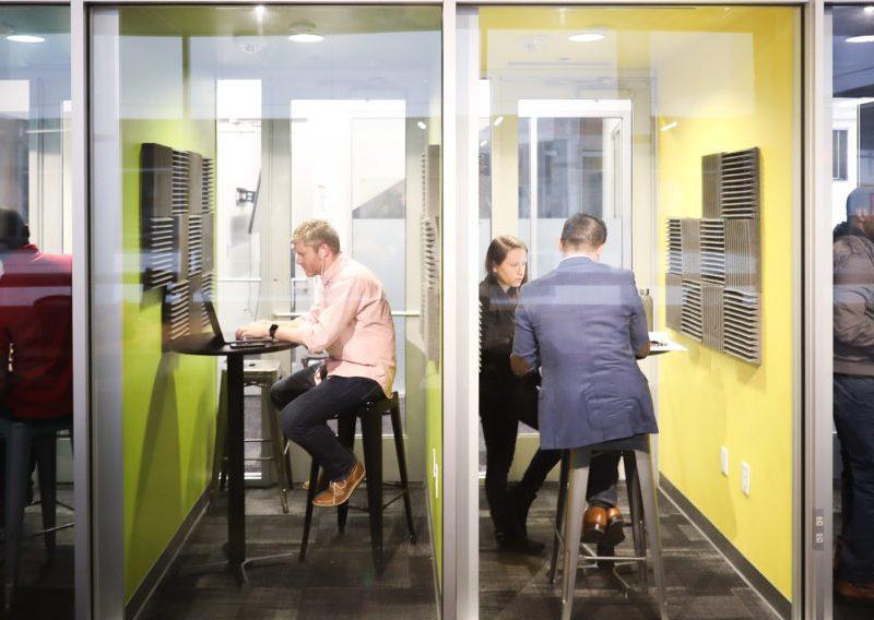 Geekdom members work in pocket offices in the popular co-working space in downtown San Antonio.