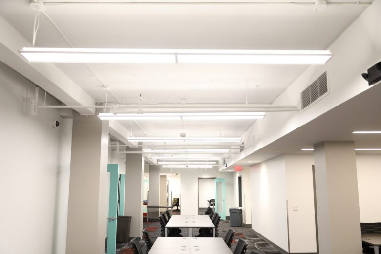 The recently renovated basement features a large community space.