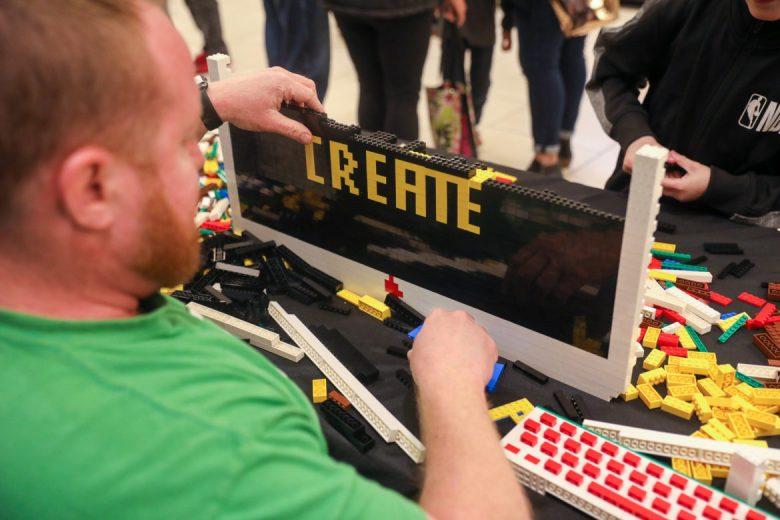 Sam Ward erects an iMac out of Lego.