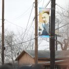Banners featuring Martin Luther King Jr. line the route.