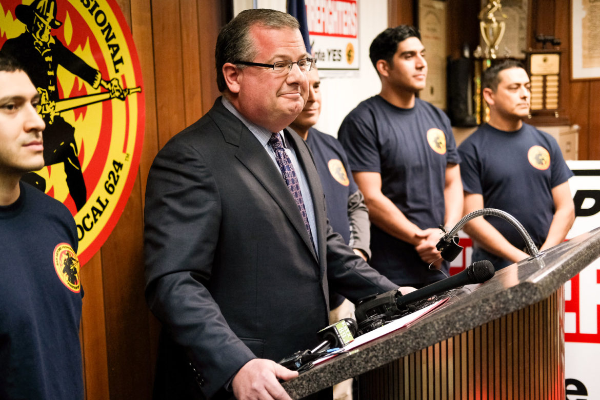 San Antonio Fire Association attorney Ricky Poole addresses members of the media formally announcing an acceptance to come to the bargaining table with the City.