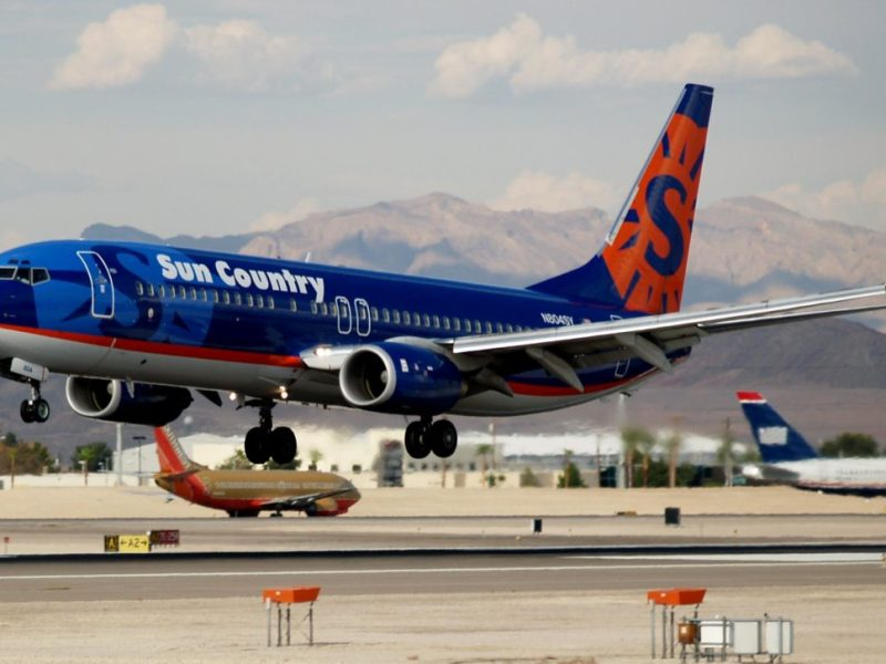 Sun Country Airlines Boeing 737-800 at Las Vegas, Nevada.