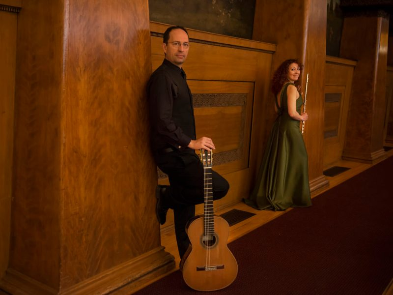 The visiting Cavatina Duo, (from left) Bosnian guitarist Denis Azabagic and Spanish flutist Eugenia Moliner, will perform a world premiere composition by San Antonio guitarist Matthew Dunne on Jan. 27.