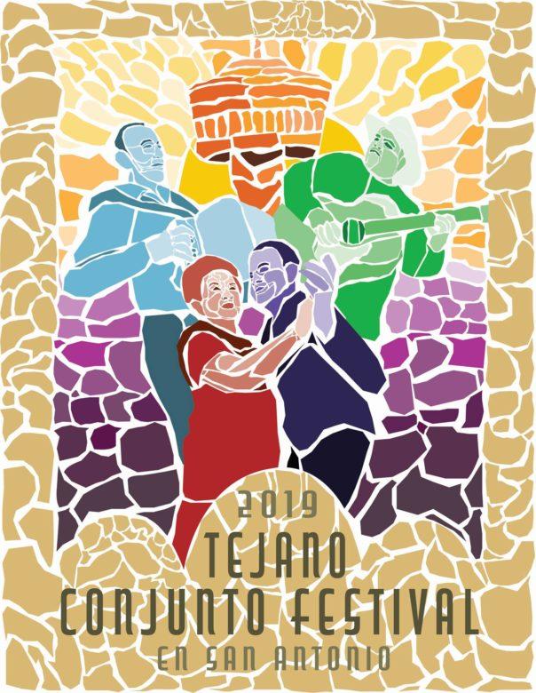 The 2019 Tejano Conjunto Festival poster by artist Ciara Casarez