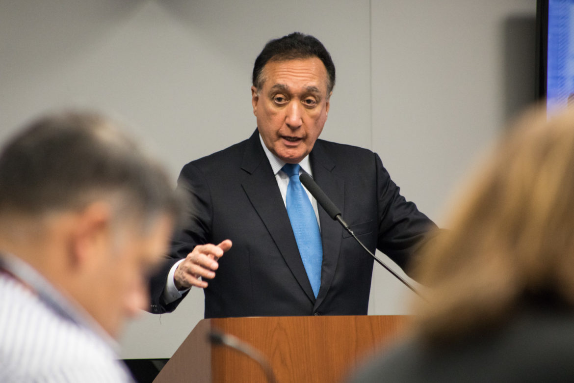 Former Mayor and ConnectSA Tri-Chair Henry Cisneros gives a presentation on Connect SA.