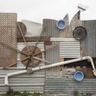 A detail of the exterior wall of artist Oscar Alvarado's studio space.