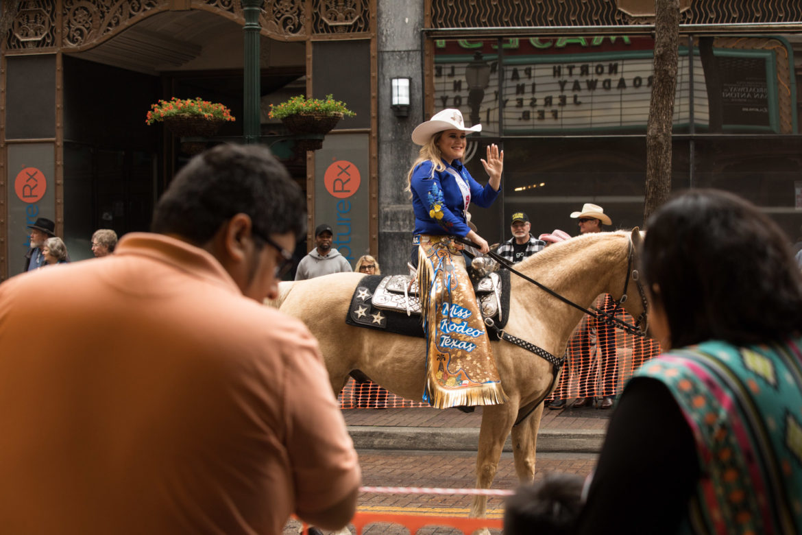 Miss Rodeo Texas waves to parade-goers.