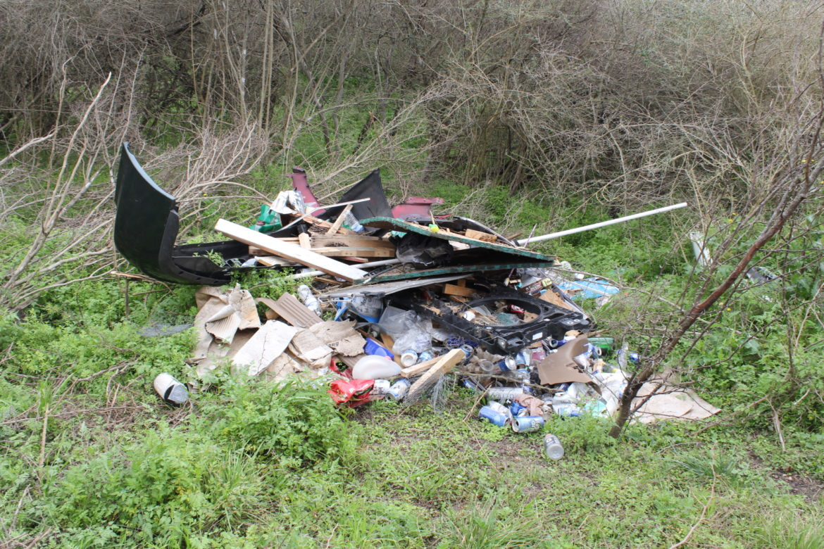 Illegal dumping on the Cox Tract south of Pearsall Park.